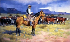 Great American Cowboy by Jack Sorenson Ceramic Tile Mural RW-JS034