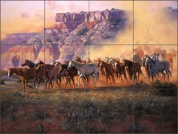 Dust of the Palo Duro by Jack Sorenson Ceramic Tile Mural - RW-JS036