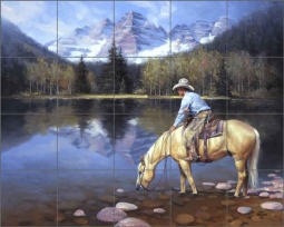 Colorado Cowboy by Jack Sorenson Ceramic Tile Mural RW-JS042