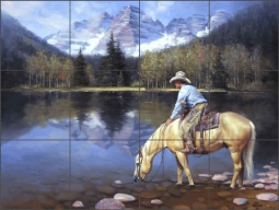 Colorado Cowboy by Jack Sorenson Travertine Stone Tile Mural - RW-JS042