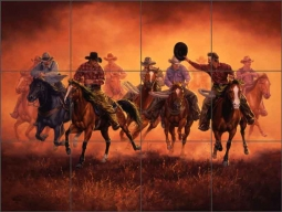 Kickin Up Dust by Jack Sorenson Ceramic Tile Mural RW-JS044