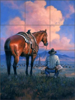 Counting His Blessings by Jack Sorenson Ceramic Tile Mural RW-JS047