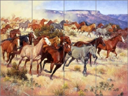 Thundering Hooves and a Cloud of Dust by Jack Sorenson Ceramic Tile Mural RW-JS051