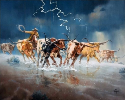 Of Longhorns and Bad Language by Jack Sorenson Ceramic Tile Mural RW-JS052
