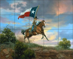 Rider on the Rim by Jack Sorenson Ceramic Tile Mural RW-JS054