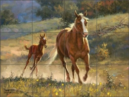 Running with Mama by Jack Sorenson Ceramic Tile Mural RW-JS064