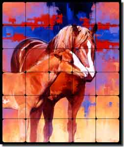 "Chapman Horses Equine Tumbled Marble Tile Mural 20"" x 24"" - RW-JTC001"