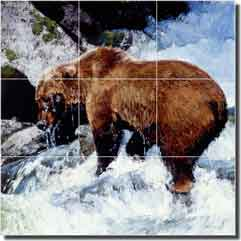 "Chapman Bear Animal Glass Tile Mural 18"" x 18"" - RW-JTC005"