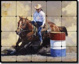 "Chapman Cowboy Rodeo Tumbled Marble Tile Mural 20"" x 16"" - RW-JTC012"