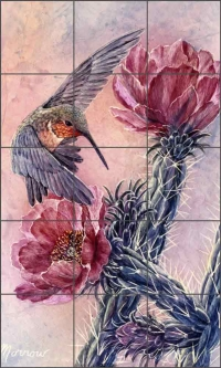 Cholla and Hummer by Kathy Morrow Ceramic Tile Mural RW-KM007