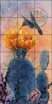 Hedgehog and Hummer by Kathy Morrow Ceramic Tile Mural - RW-KM010