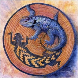 Morrow Southwest Lizard Floor Tile Mural - RW-KM013