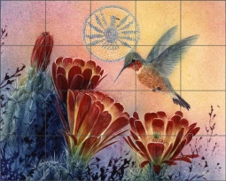 Hedgehog and Hummer II by Kathy Morrow Ceramic Tile Mural - RW-KM015