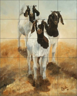 Tres Amigos by Kathy Winkler Ceramic Tile Mural RW-KW006