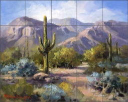 Catalina Mountain Foothills by Maxine Johnston Ceramic Tile Mural RW-MJA003