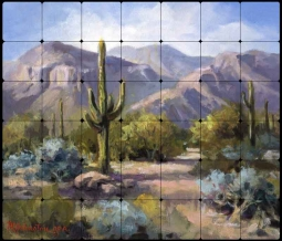 Johnston Southwest Landscape Tumbled Marble Tile Mural - RW-MJA003