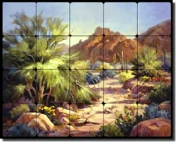 "Johnston Southwest Landscape Tumbled Marble Tile Mural 30"" x 24"" - RW-MJA004"