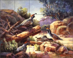 Desert Mountain Quail by Maxine Johnston Ceramic Tile Mural RW-MJA005