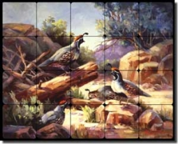 "Johnston Southwest Quail Tumbled Marble Tile Mural 30"" x 24"" - RW-MJA005"