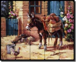 "Johnston Southwest Burro Tumbled Marble Tile Mural 20"" x 16"" - RW-MJA011"