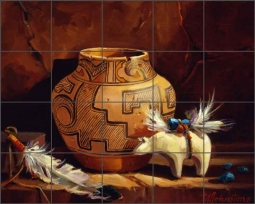 Johnston Native American Ceramic Tile Mural RW-MJA018