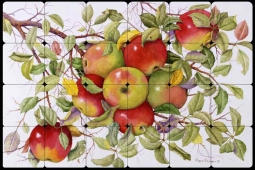 Apples by Marcia Matcham Tumbled Marble Tile Mural - RW-MM001