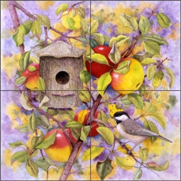 Chickadee and Apples by Marcia Matcham Ceramic Tile Mural RW-MM002