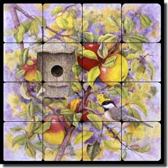 "Matcham Chickadee Apple Tumbled Marble Tile Mural 16"" x 16"" - RW-MM002"