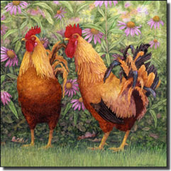 "Matcham Roosters Ceramic Accent Tile 6"" x 6"" - RW-MM004AT"