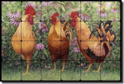 "Matcham Roosters Tumbled Marble Tile Mural 24"" x 16"" - RW-MM004"