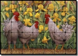 "Matcham Roosters Tumbled Marble Tile Mural 28"" x 20"" - RW-MM005"