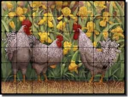 "Matcham Roosters Tumbled Marble Tile Mural 32"" x 24"" - RW-MM005"