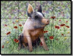 "Matcham Pig Animal Tumbled Marble Tile Mural 24"" x 18"" - RW-MM006"