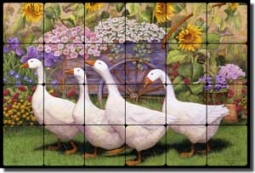 "Matcham Goose Geese Tumbled Marble Tile Mural 24"" x 16"" - RW-MM008"