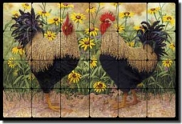 "Matcham Rooster Art Tumbled Marble Tile Mural 24"" x 16"" - RW-MM014"