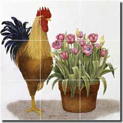 "Matcham Rooster Tulip Glass Tile Mural 18"" x 18"" - RW-MM015"
