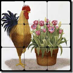 "Matcham Rooster Tulip Tumbled Marble Tile Mural 12"" x 12"" - RW-MM015"