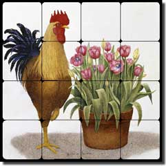"Matcham Rooster Tulip Tumbled Marble Tile Mural 16"" x 16"" - RW-MM015"
