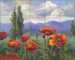 Pleasant Valley Poppies by Nanette Oleson Ceramic Tile Mural - RW-NO003