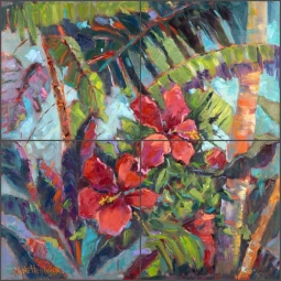 Tropical Hibiscus by Nanette Oleson Ceramic Tile Mural - RW-NO006