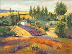 "Oleson Country Landscape Ceramic Tile Mural 17"" x 12.75"" - RW-NO009"