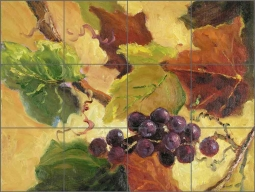Harvest Grapes by Nanette Oleson Ceramic Tile Mural RW-NO010