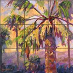"Oleson Palm Tree Glass Tile Mural 18"" x 18"" - RW-NO011"