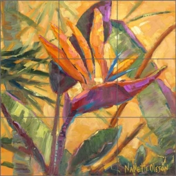 Splash of Paradise by Nanette Oleson Ceramic Tile Mural RW-NO012