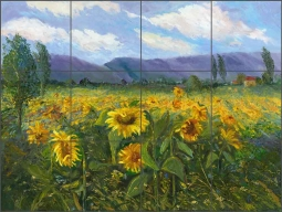 Sunflower Fields by Nanette Oleson Ceramic Tile Mural RW-NO013