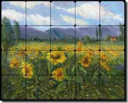"Oleson Sunflower Floral Ceramic Tile Mural 20"" x 16"" - RW-NO013"