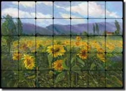"Oleson Sunflower Floral Ceramic Tile Mural 28"" x 20"" - RW-NO013"