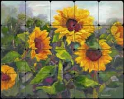 Oleson Sunflower Floral Tumbled Marble Tile Mural - RW-NO014