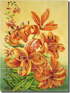 "Hoyle Tiger Lilies Lily Glass Wall Floor Tile Mural 18"" x 24"" - RW-SH001"