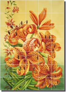 "Hoyle Tiger Lilies Lily Ceramic Tile Mural 21.25"" x 29.75"" - RW-SH001"